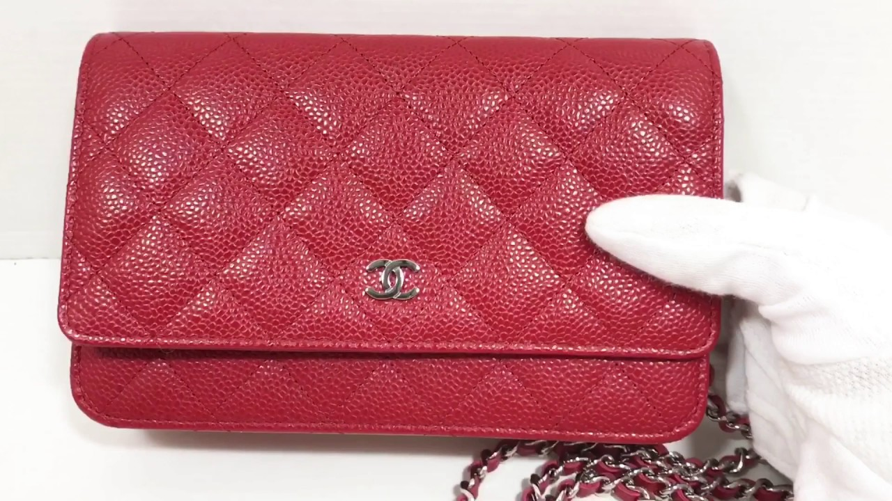 8aacef38e815 Authentic Chanel Caviar Wallet On Chain WOC - YouTube
