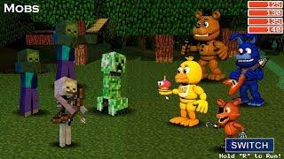 Minecraft Mobs vs. Adventure Animatronics! FNaF World! (Mod) #2