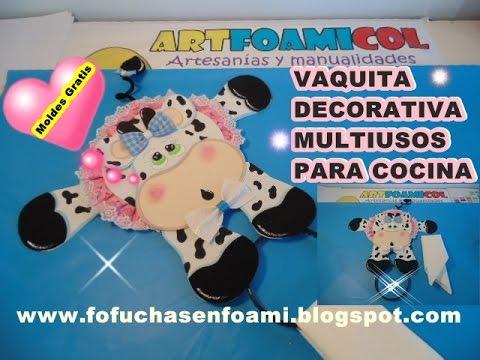 Vaquita decorativa en foami porta limpiones multiusos para for Manualidades para la cocina