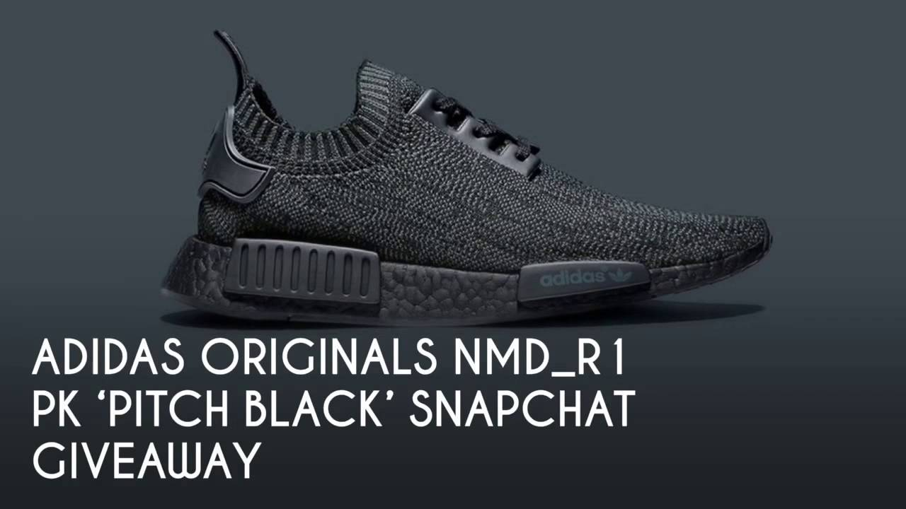 92e5813d38bcd ADIDAS ORIGINALS NMD R1 PK  PITCH BLACK  SNAPCHAT GIVEAWAY   PEACE X9 -  YouTube
