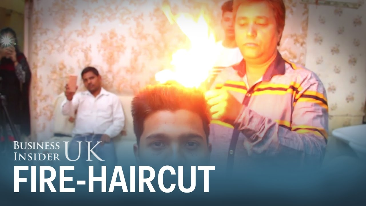 An Indian Barber Is Using Fire To Cut Peoples Hair And Nobodys