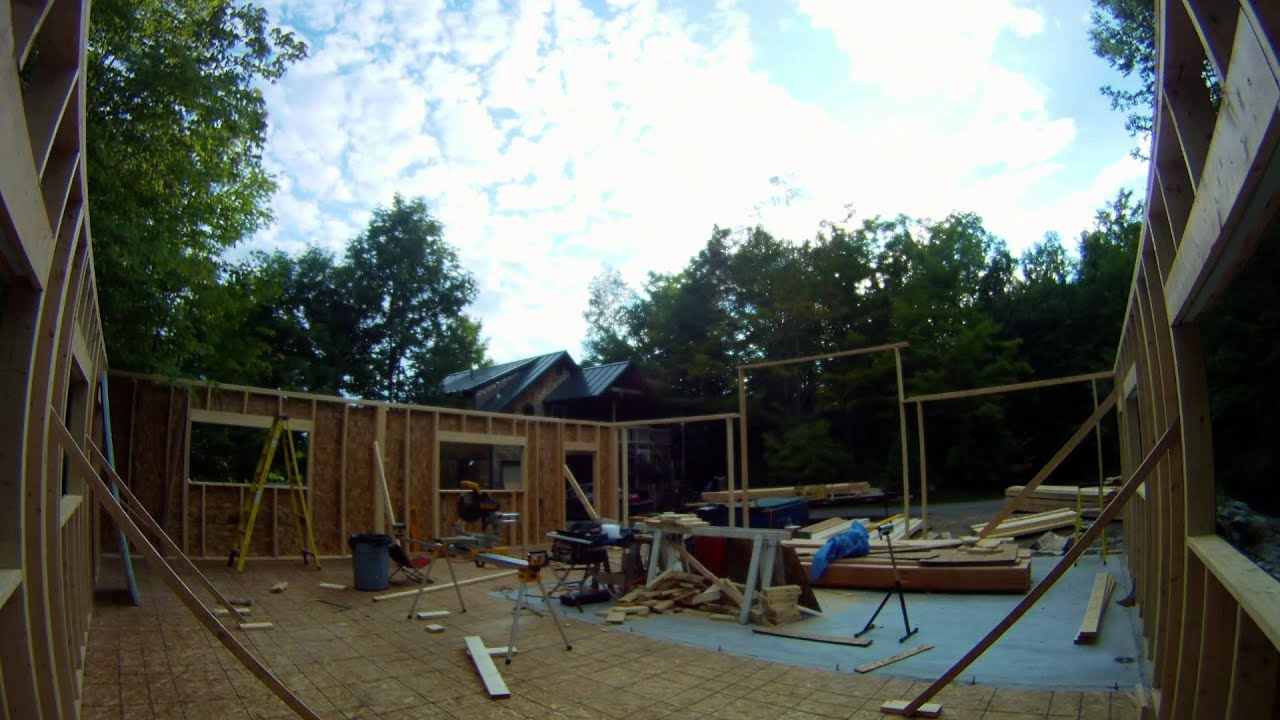 framing garage doors wall and 2x6 posts 27 my garage build hd time lapse youtube