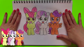 "How to Draw My Little Pony MLP ""Cutie Mark Crusaders"" Apple Bloom, Sweetie Belle, and Scootaloo"