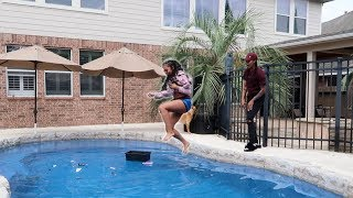 ANGRY GF Throws MAKE-UP In The POOL PRANK!!!! (She CRIED)