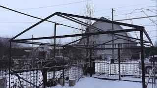 Постройка металлического гаража (каркас)(Вторая часть постройки гаража находится тут https://www.youtube.com/watch?v=s51cgyuQhns В общем решил объединить все что, насни..., 2015-01-09T09:17:45.000Z)