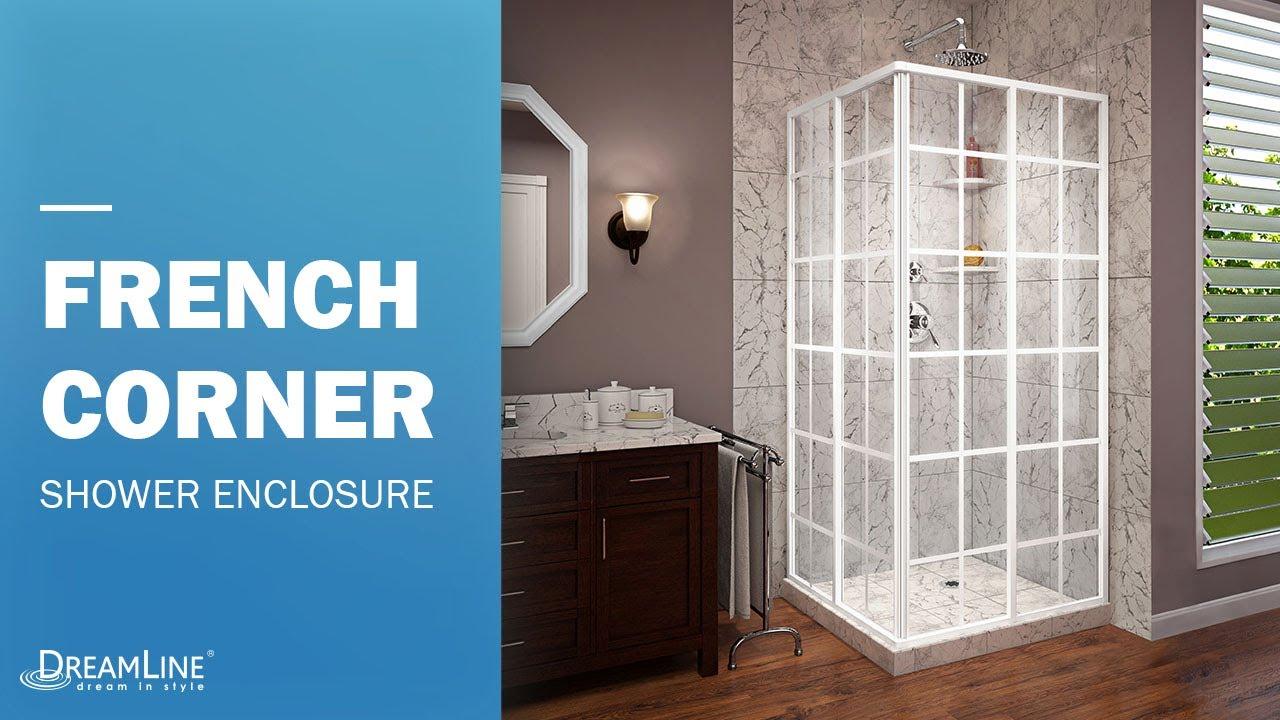DreamLine French Corner Arctic White Shower Enclosure | Sliding ...