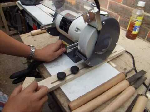show how to make 3-point wood lathe chisels