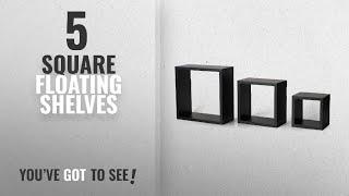 Top 10 Square Floating Shelves [2018 ]: Melannco Square Wood Shelves, Set Of 3, Black