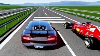 Ferrari F1 2017 vs Bugatti Chiron  TOP SPEED BATTLE