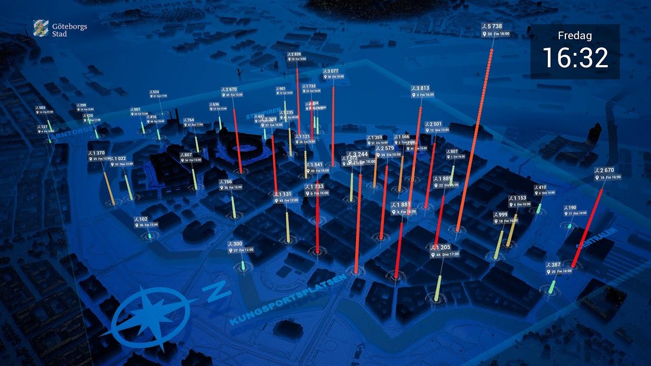 Se hur många som passerade mätpunkter i centrala Göteborg under fem dagar