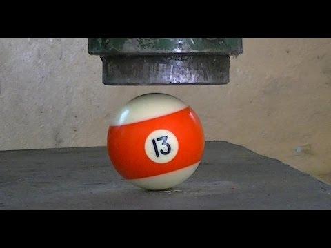 Billiard ball vs Hydraulic Press