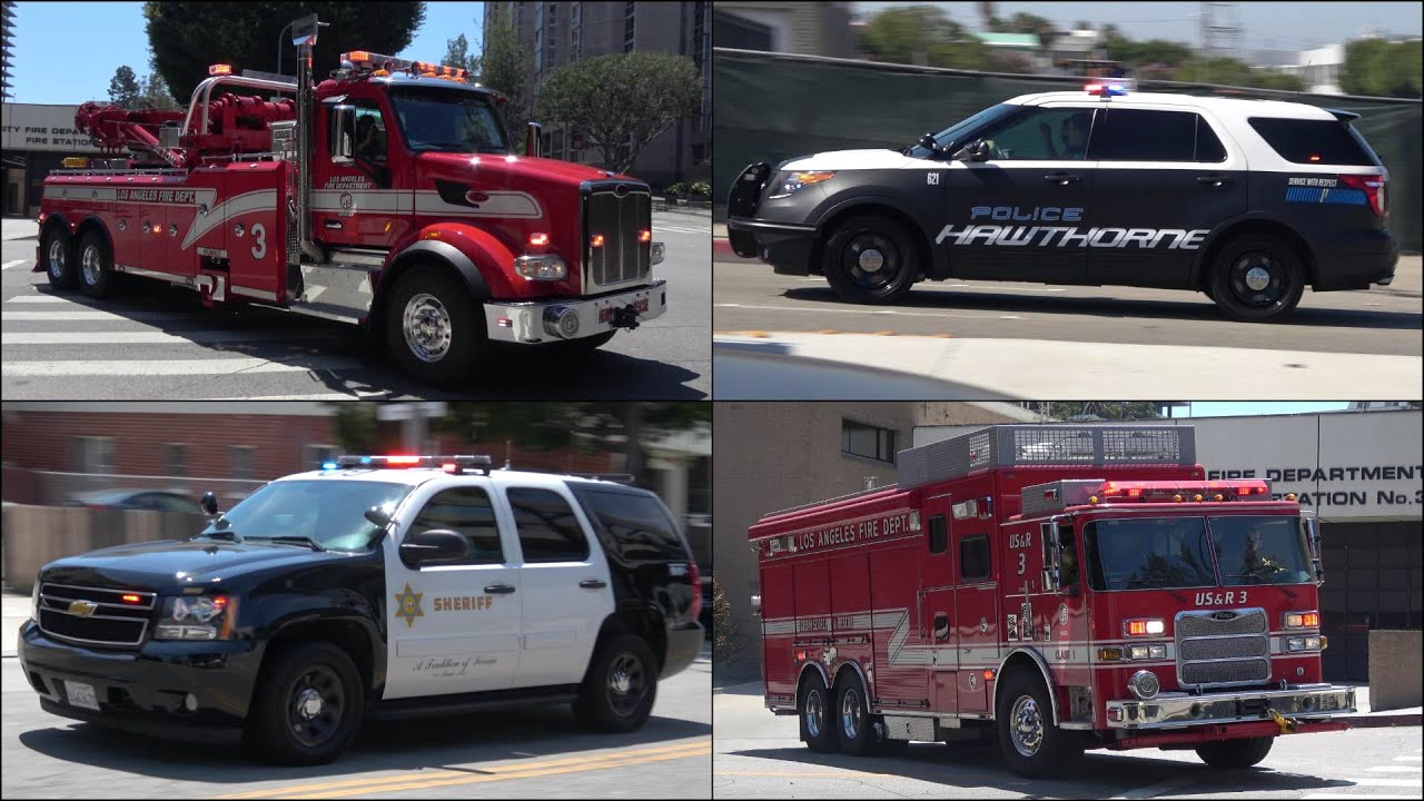 Compilation Fire Truck Convoy Police Cars And Other