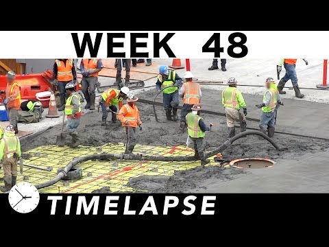 Construction time-lapse w/over 70 closeups: Week 48: Ironworkers; concrete; climbing frame; more