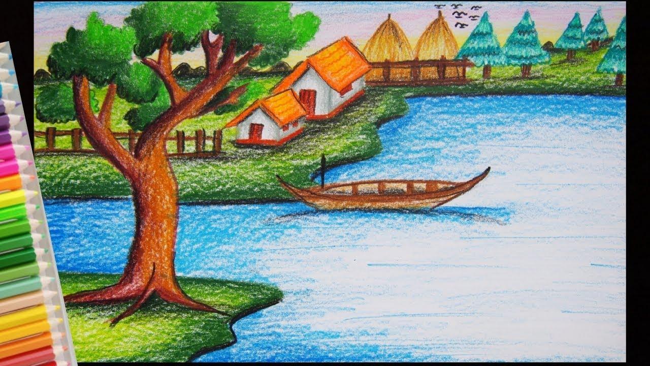 วาดรูปบ้าน ตามธรรมชาติ   How to draw scenery of river sids village
