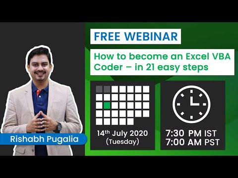 FREE Webinar on Become an Excel VBA Coder - in 21 easy steps