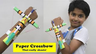 I made Mini Paper Crossbow that shoots with Trigger - PUBG Style | Easy Paper Craft Toy Weapons DIY