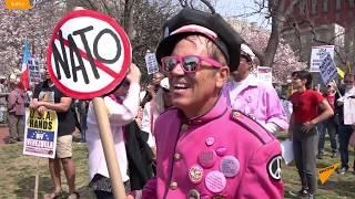 Сотни людей вышли на митинг против НАТО в Вашингтоне