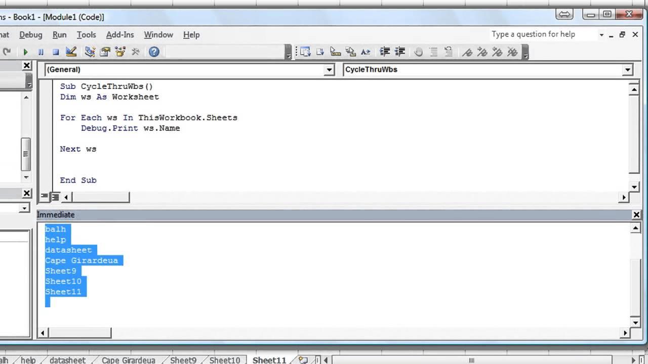 Excel VBA Basics 30 How to Loop Through Each Worksheet in – Excel Vba Current Worksheet