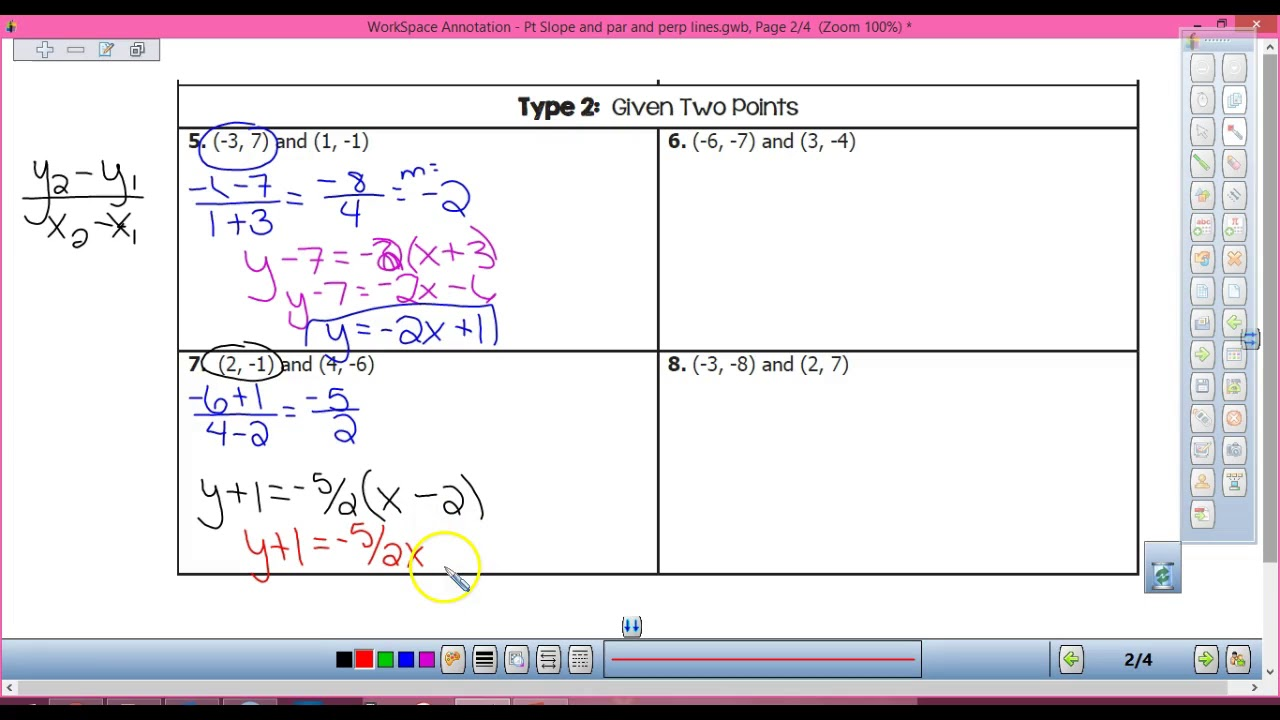 Pt slope form with parallel and perpendicular lines youtube pt slope form with parallel and perpendicular lines falaconquin