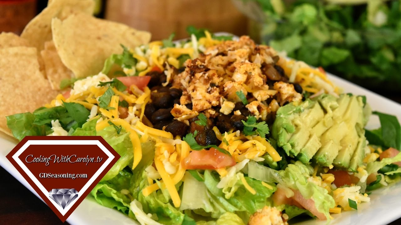 ROASTED CAULIFLOWER and BLACK BEAN TACO SALAD RECIPE |How to Make Oven Fried Taco Shells
