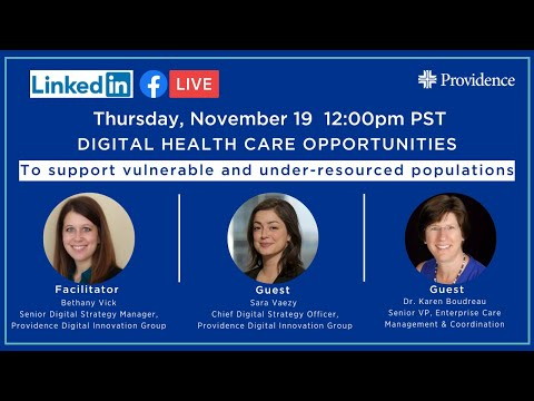 Digital health care opportunities to support vulnerable and under-resourced populations