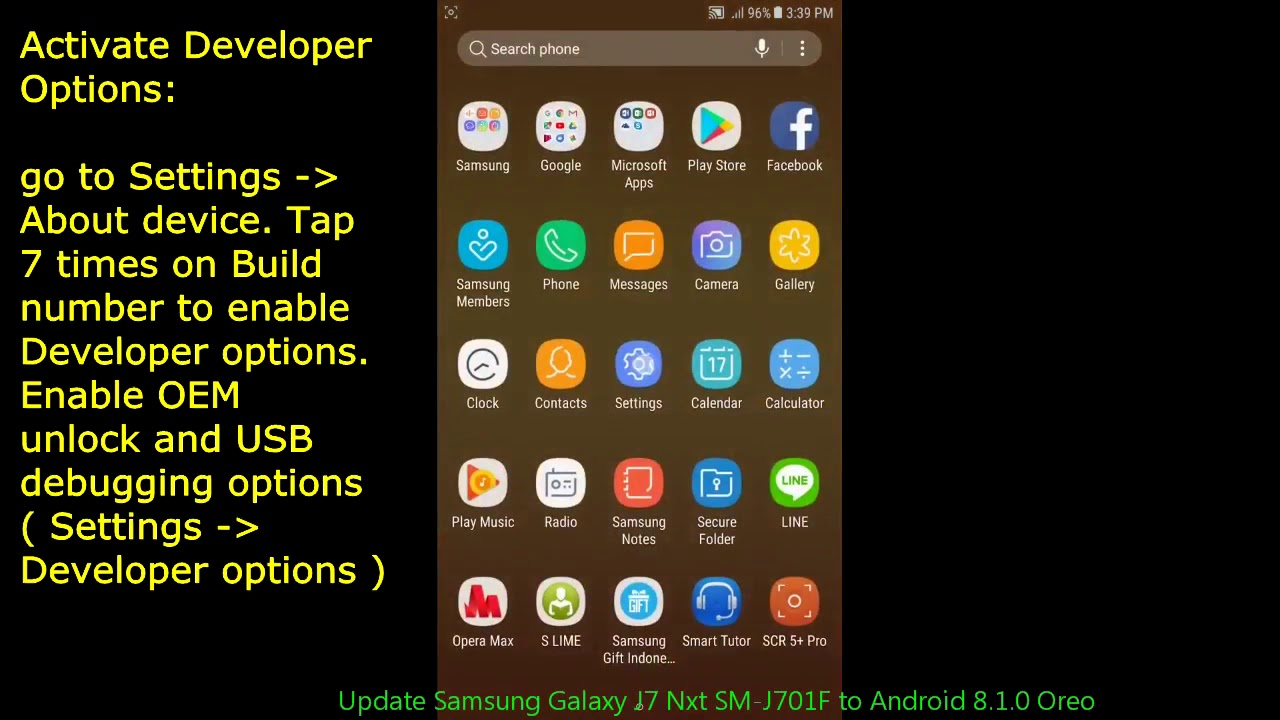 Update Samsung Galaxy J7 Nxt SM-J701F to Android 8 1 0 Oreo