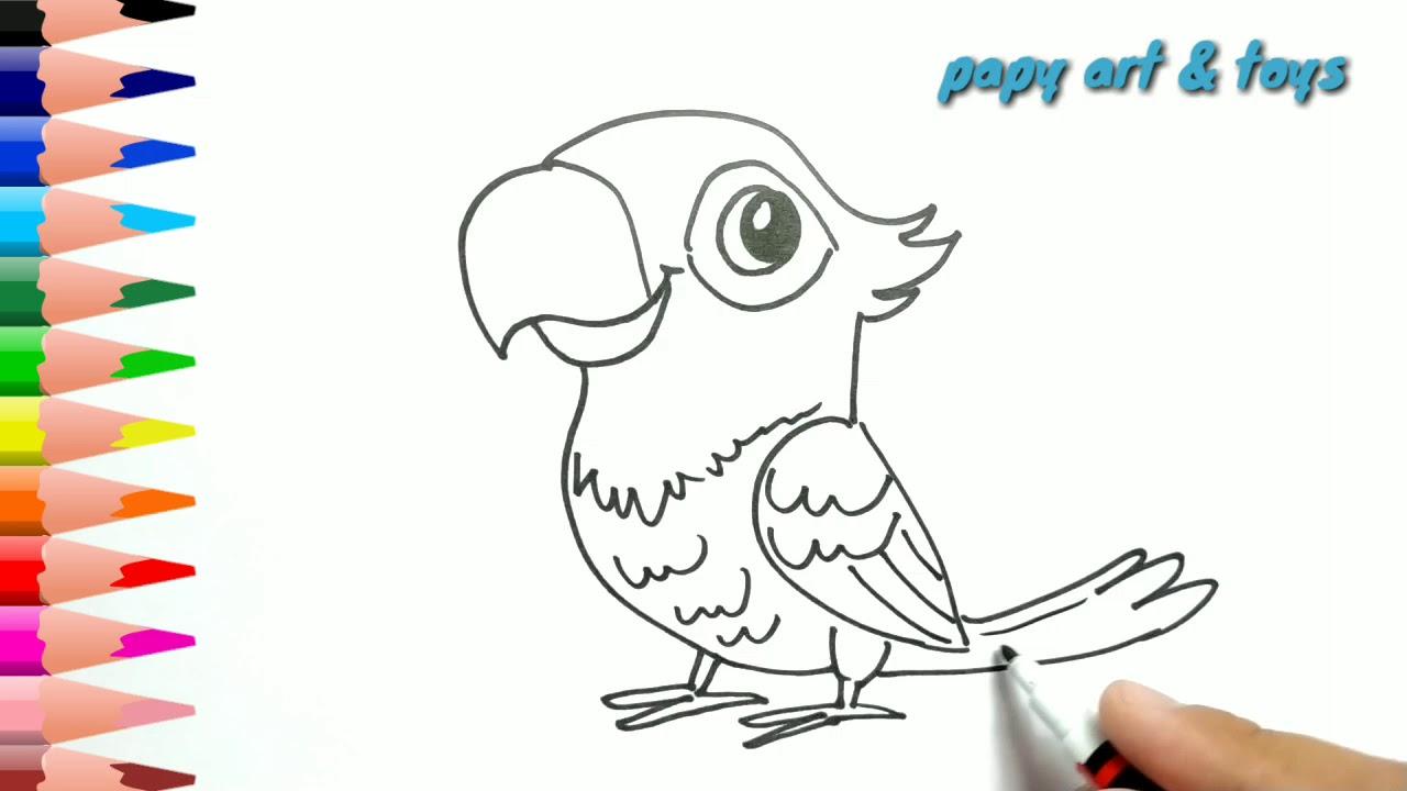 AJAIB Belajar Cara Menggambar Burung Kakak Tua Mewarnai Kartun Dengan Mudah