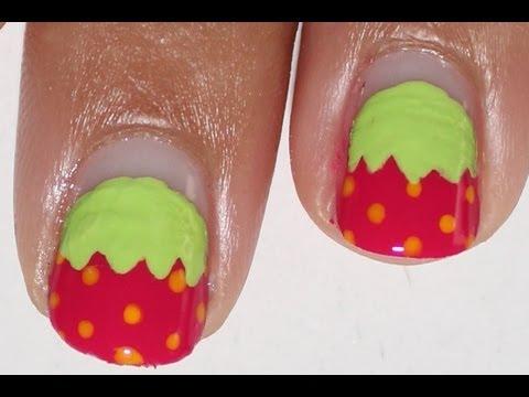 Easy Strawberry nail art tutorial