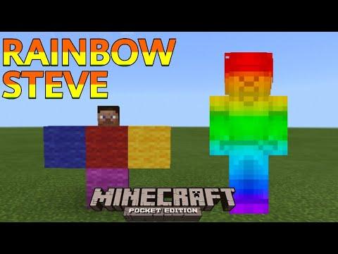 How To Summon RAINBOW STEVE In Mineceaft Pocket Edition