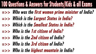 100 Most Frequently Asked Simple GK Quiz General Knowledge GK Questions Answers ENGLISH INDIA GK 33