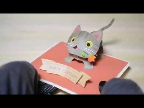 Pop Up Birthday CardKijitora Cat Brown Tabby