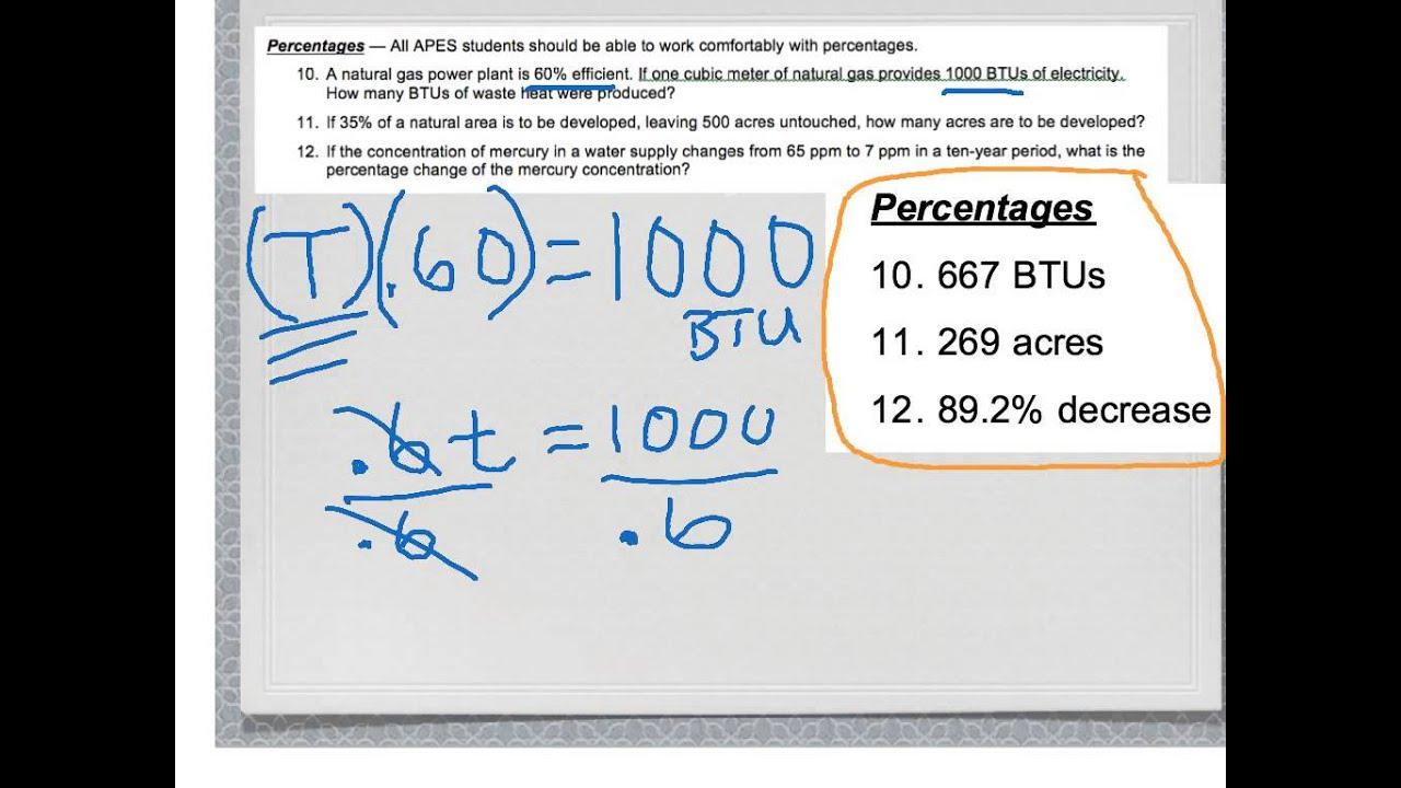 Apes Math Worksheet Key