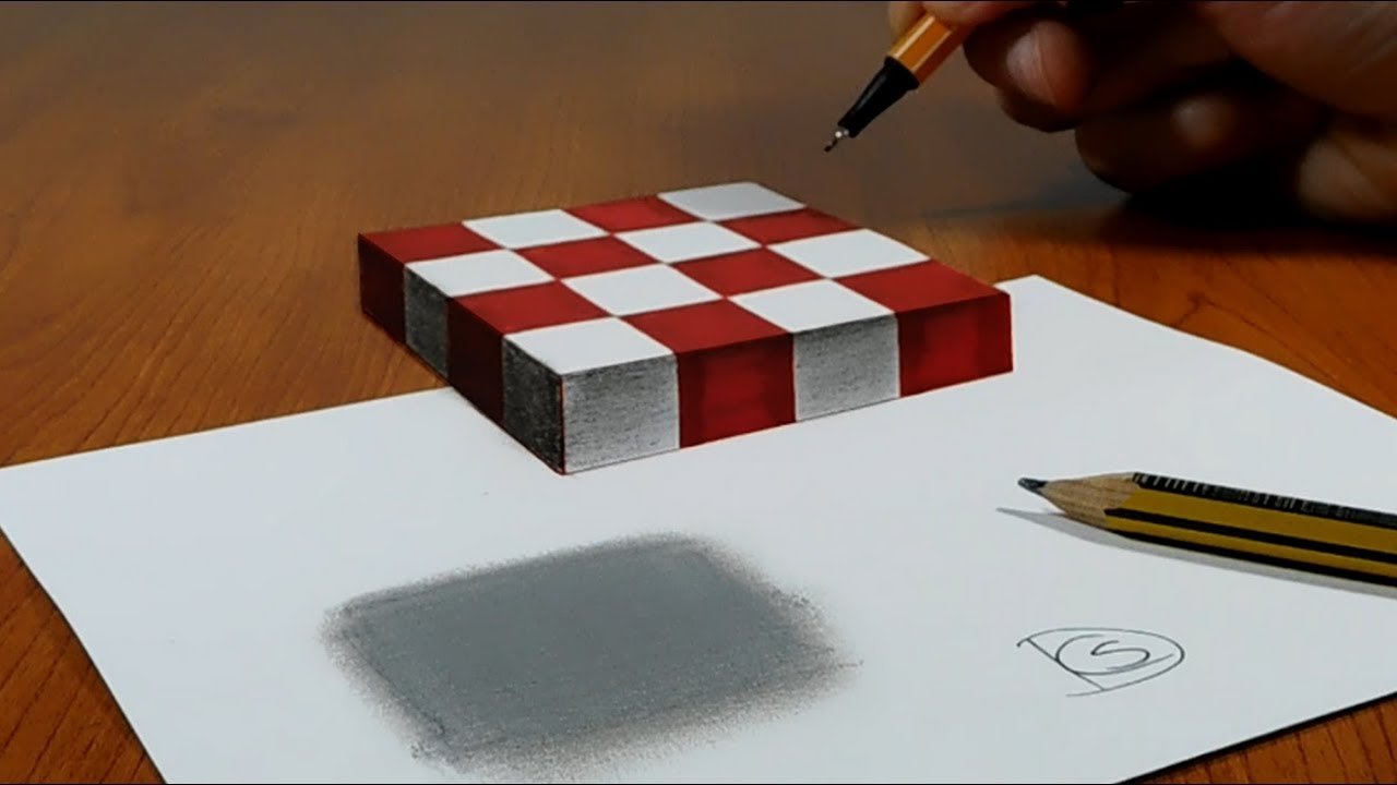 3d trick art on paper floating chess youtube