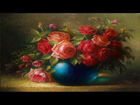 Oil Painting Vase With Roses By Yasser Fayad Youtube