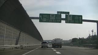 草津JCT(ジャンクション)で名神高速道路上り線から新名神高速道路(草津田上出口、伊勢、信楽、亀山方面)に走ってみました!!草津SA(サービスエリア)の入口もわかります!!