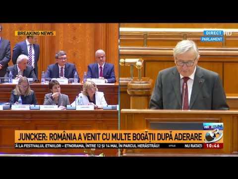 """Jean Claude-Juncker, în Parlamentul României: """"România a venit cu multe bogății după aderare"""