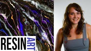 Voice over - Black pigment background , Liquitex ink, Pearl Ex powders, Resin art, Barnes epox
