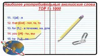 1000 Самые употребляемые английские слова (1 - 20)