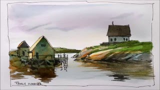 A line and wash watercolor demonstration of an East coast fishing village. Great for beginners