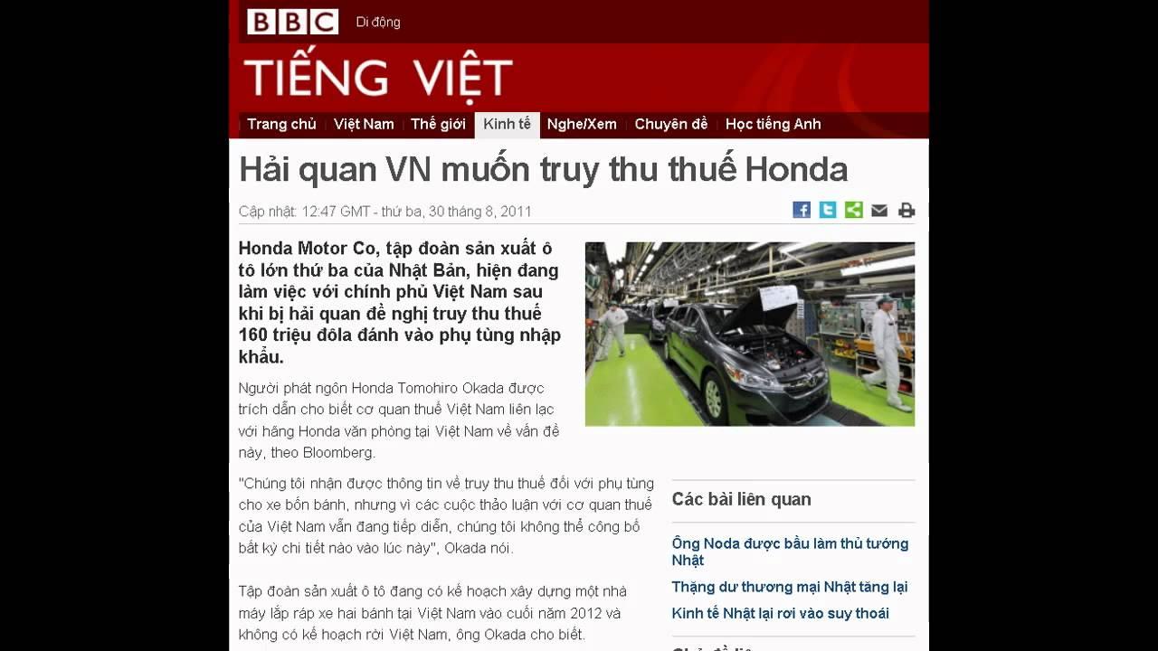 30-08-2011 – BBC Vietnamese – Hải quan VN muốn truy thu thuế Honda
