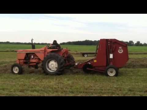 Allis 180 baling hay with a Hesston 5530