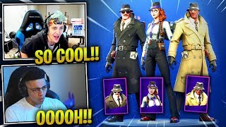 NINJA & MYTH REACTS *NEW* DETECTIVE SKINS! SLEUTH, GUMSHOE & NOIR - Fortnite Best & Funny Moments