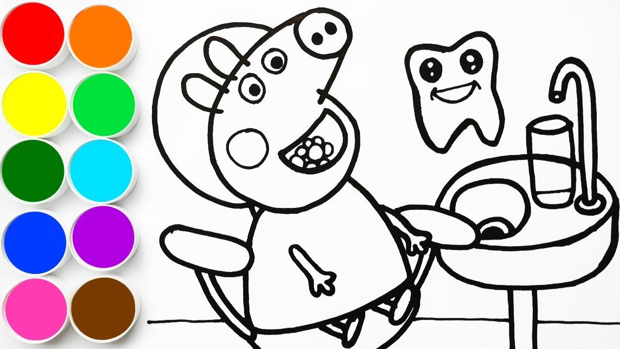Como Dibujar Y Pintar Peppa Pig En El Dentista Dibujando Para