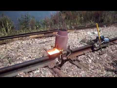 Railroad thermite welding near the Mississippi river