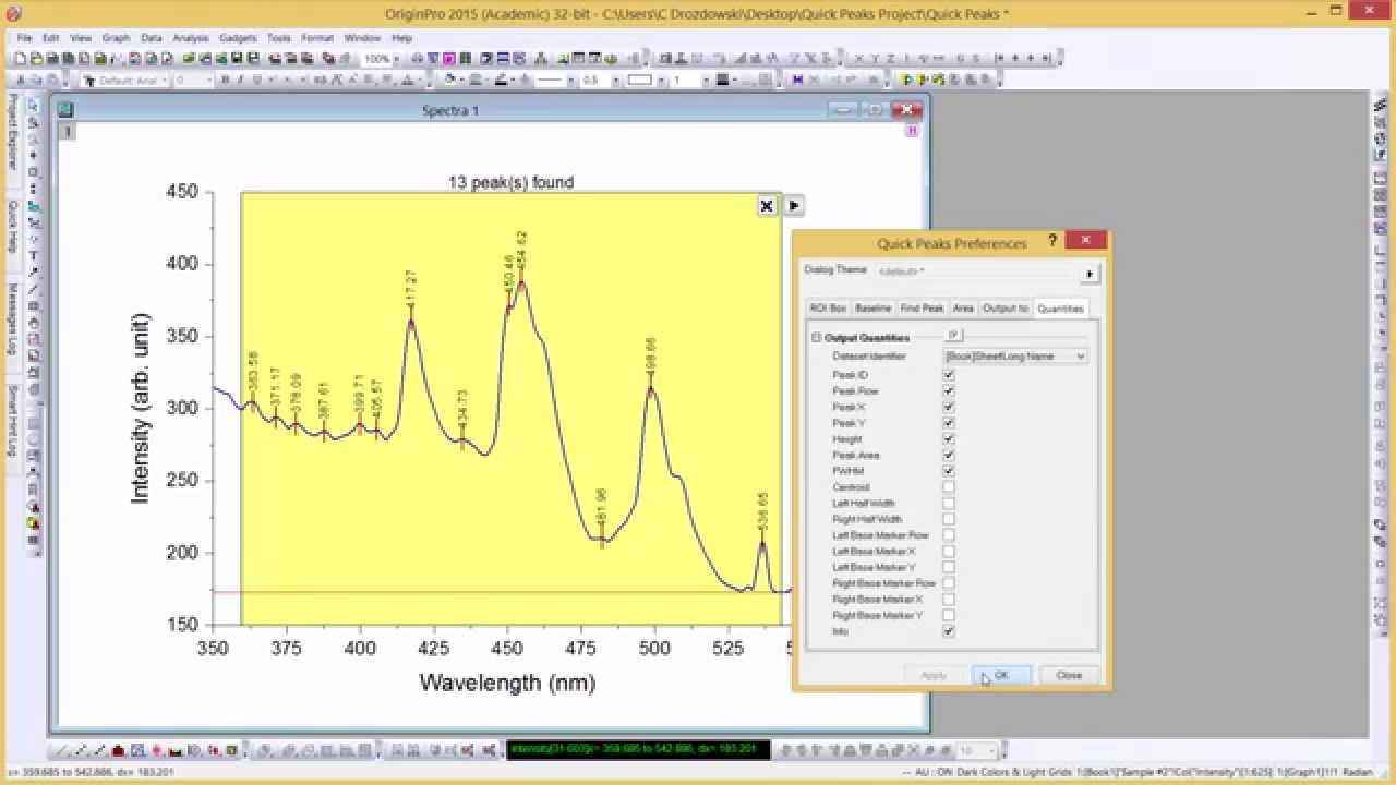 Analyzing Peaks with the Quick Peaks Gadget