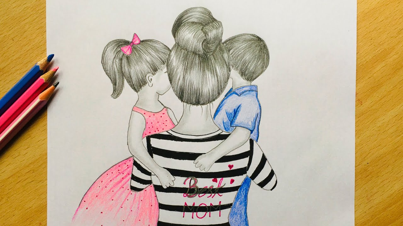 How to draw A Mother and her baby's - step by step    Colored Pencil Sketch  - YouTube