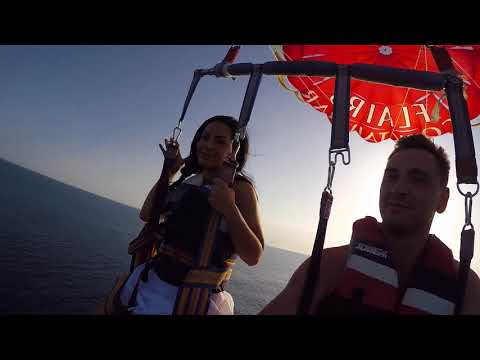 "October holidays in Cyprus, Paphos. Paragliding with ""Octopus"" water sports"
