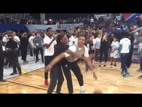LeBron James's Son Vs Russell Westbrook 1 On 1 At NBA All Star Weekend -LeBron James Jr VS Westbrook