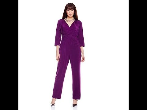 Slinky Brand 3/4Sleeve Surplice Jumpsuit. http://bit.ly/2WCYBow