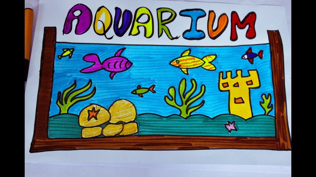 How To Draw A Fish Aquarium For Kids Learn To Draw A Fish Tank